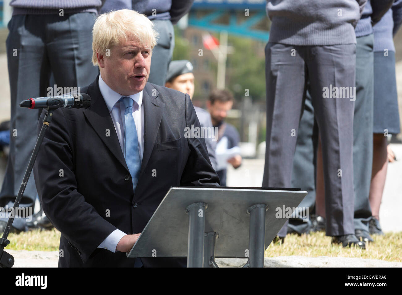 London, UK. 22 June 2015. Boris Johnson, the Mayor of London, and London Assembly members joined British Armed Forces Stock Photo