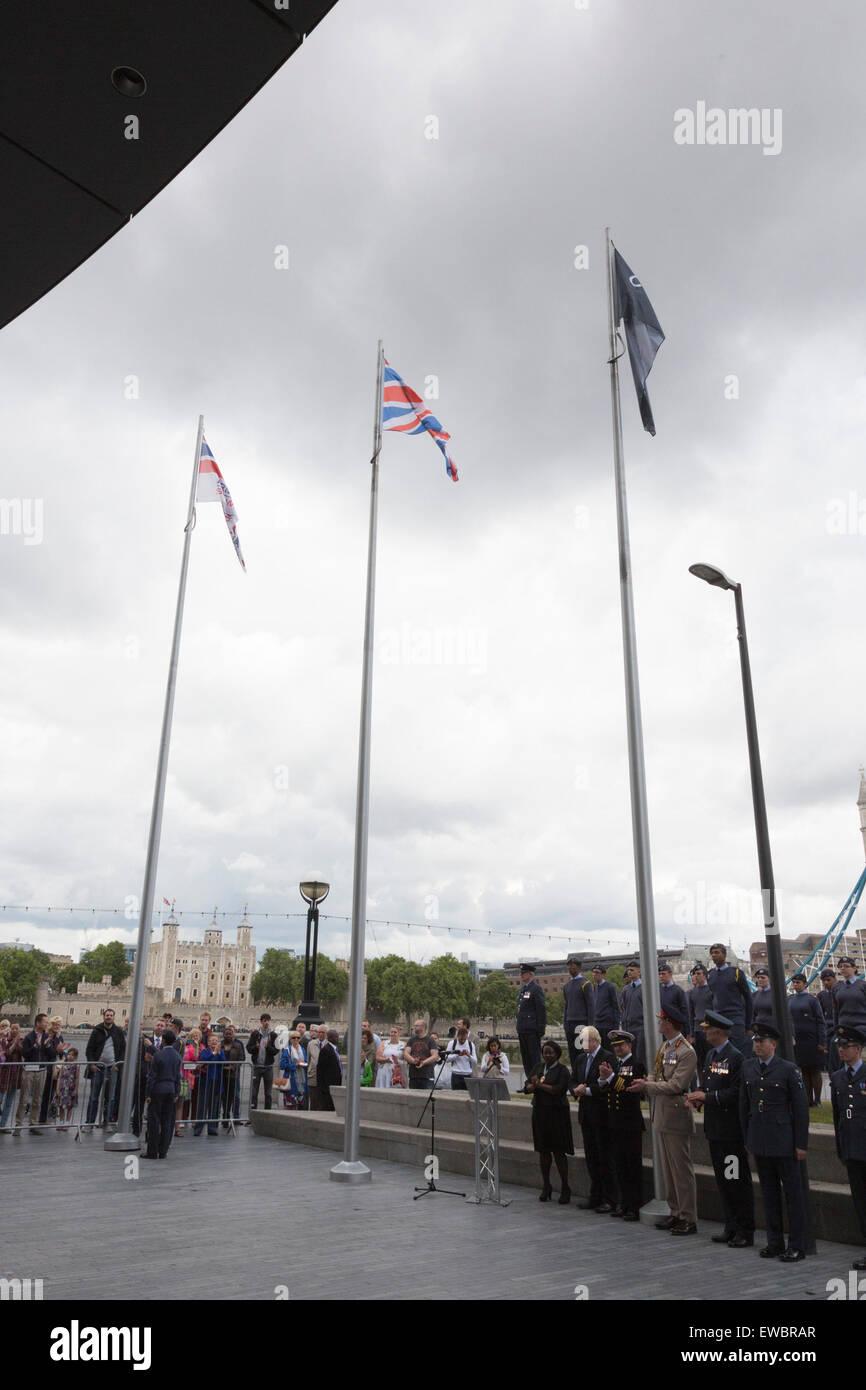 London, UK. 22 June 2015. Flag-raising ceremony. Boris Johnson, the Mayor of London, and London Assembly members - Stock Image