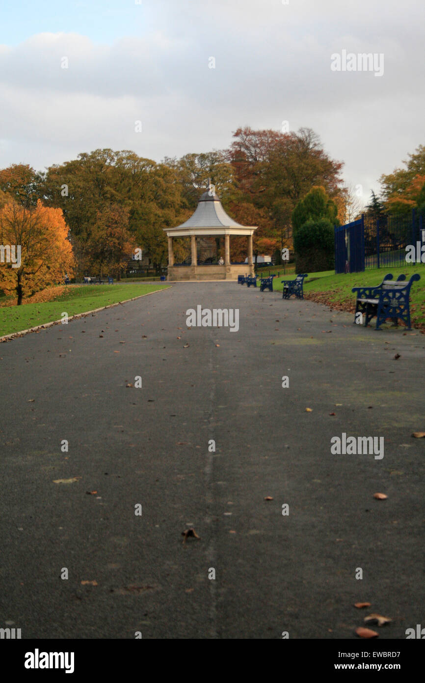 Bandstand Lister park pathway benches - Stock Image