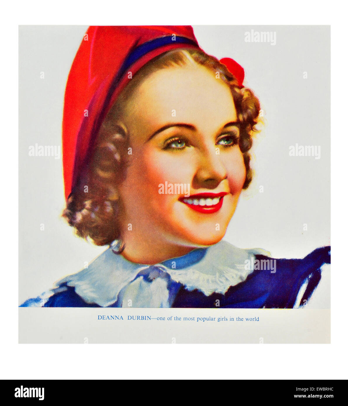 853e5ea33832c Portrait of a woman smiling wearing a red beret with short brown hair and  collared dress