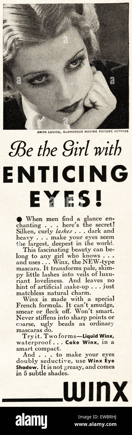 1930s Vintage American magazine advertisement dated November 1933 advertising WINX mascara eye make up - Stock Image