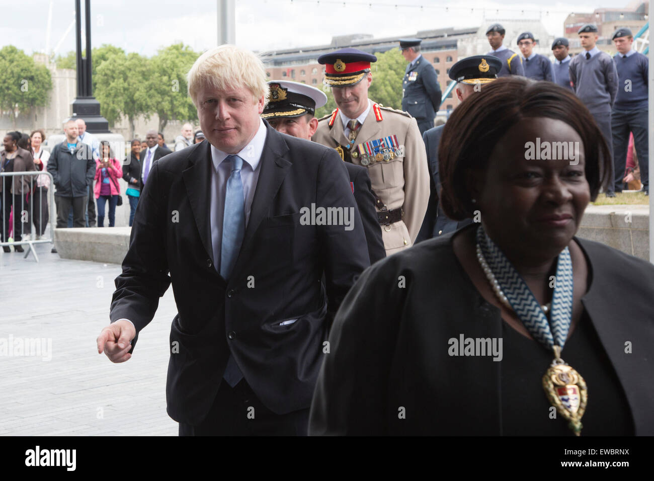 London, UK. 22 June 2015. Pictured: Boris Johnson with senior military officers and Jennette Arnold OBE, Chair of - Stock Image