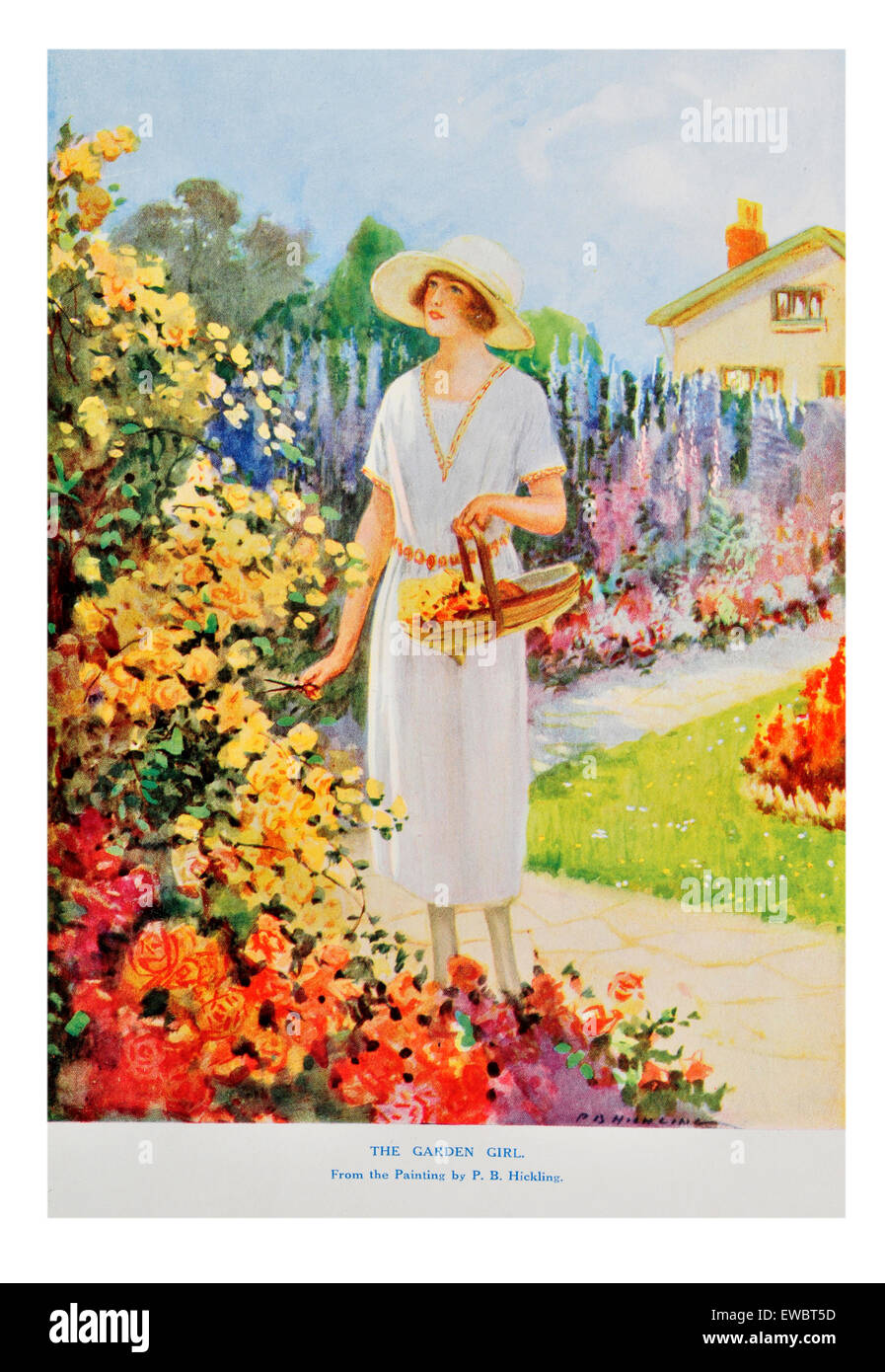 portrait of 1930's woman in colorful spring cottage garden - Stock Image