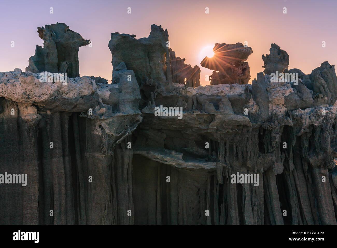 Sunset at the sand formations at Mono Lake near Navy Beach, California, USA, - Stock Image