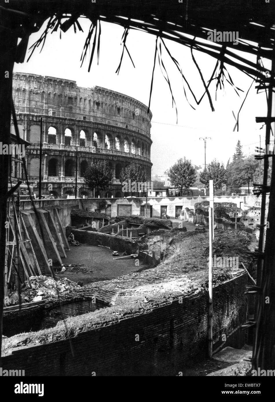 Archaeological excavations in the ludus magnus the colosseum,rome 1960 - Stock Image