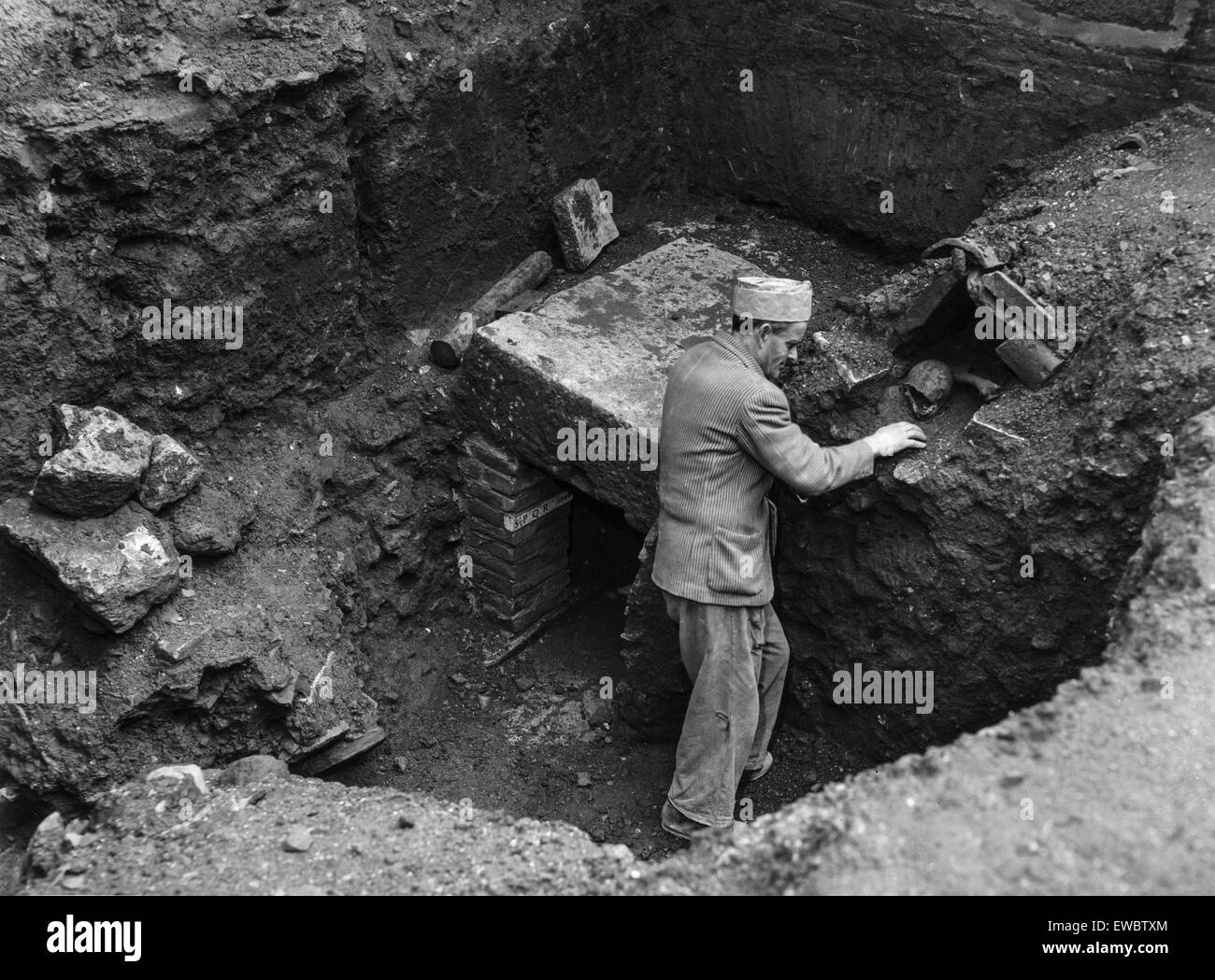archaeological excavations,ludus magnus,the gym of the gladiators,Rome 1967 - Stock Image