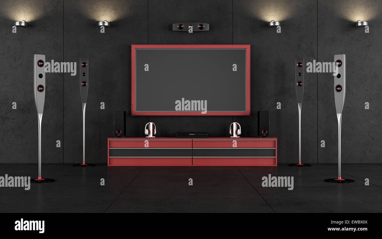 cinema room furniture. Wonderful Furniture Red And Black Cinema Room Without Furniture 3D Rendering  Stock Image Inside Cinema Room Furniture