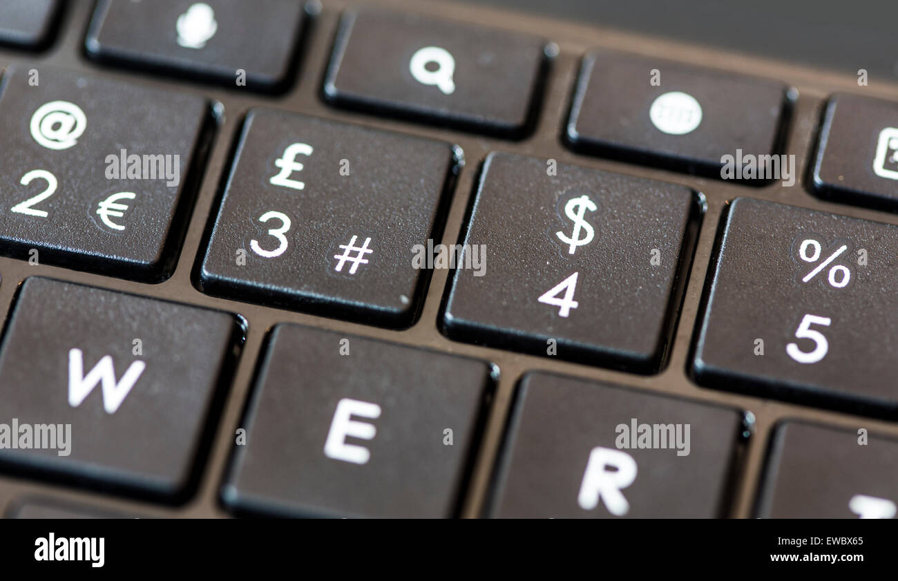 Euro Pound Dollar Percent signs on a black computer keyboard - Stock Image