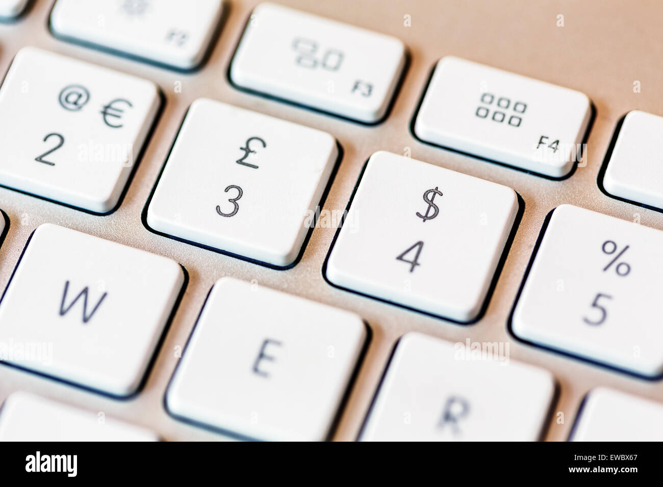 Euro Pound Dollar and Percent signs on a computer keyboard - Stock Image