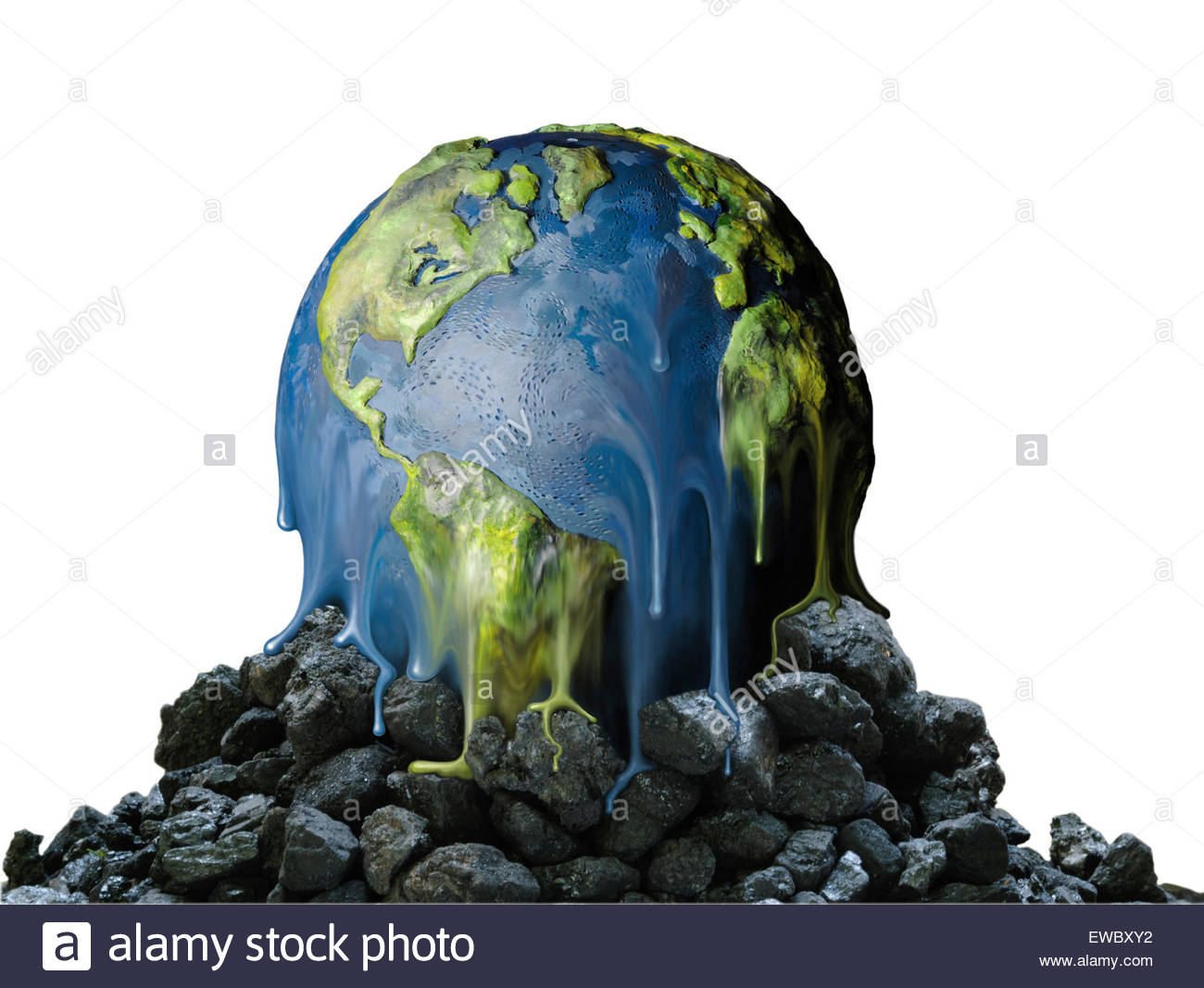 An earth globe melts over a mound of coal. (illustration) - Stock Image