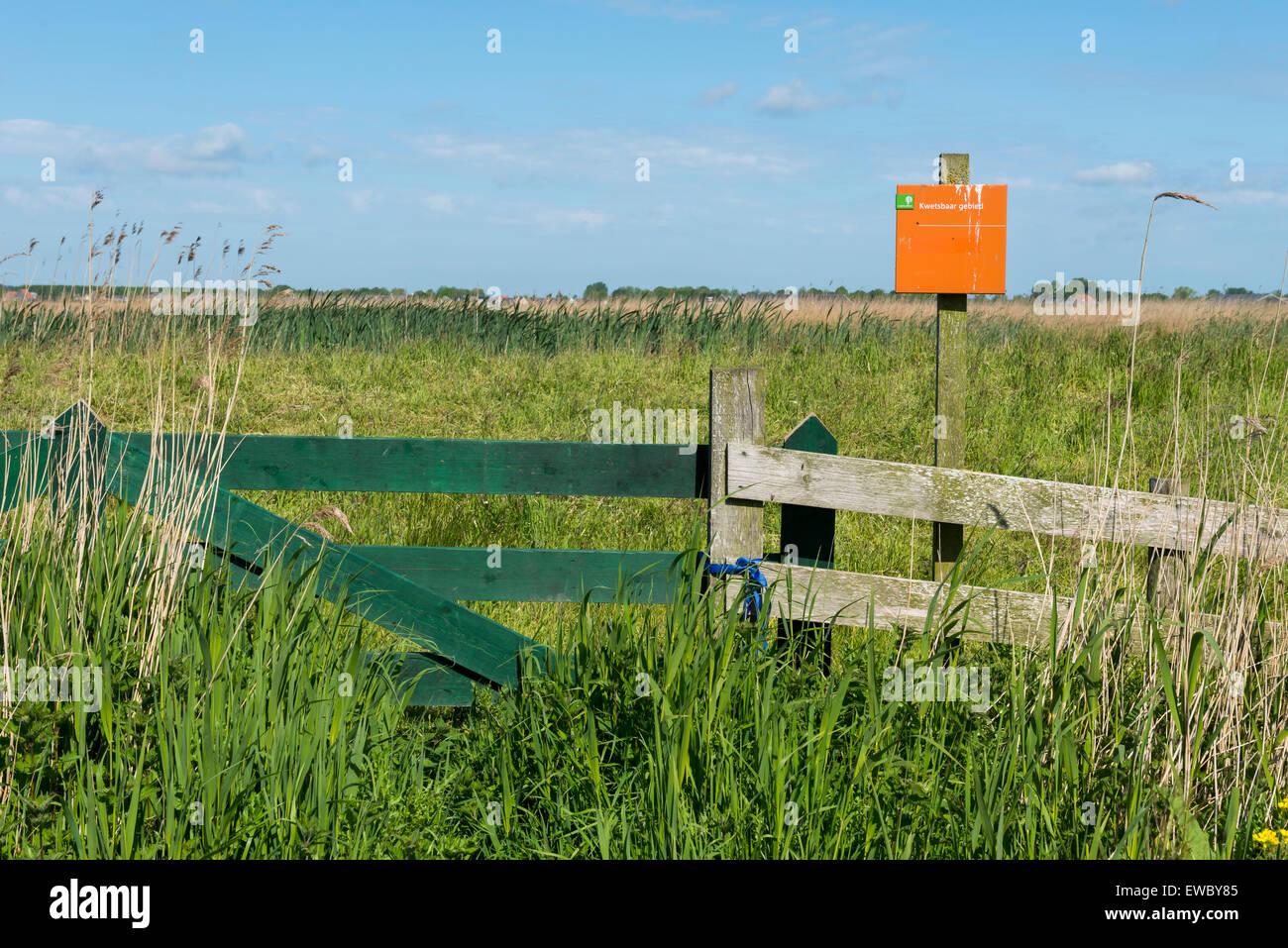 Fence of Sondeler Leien Nature Reserve in Friesland, The Netherlands, image Daan Kloeg, Commee - Stock Image