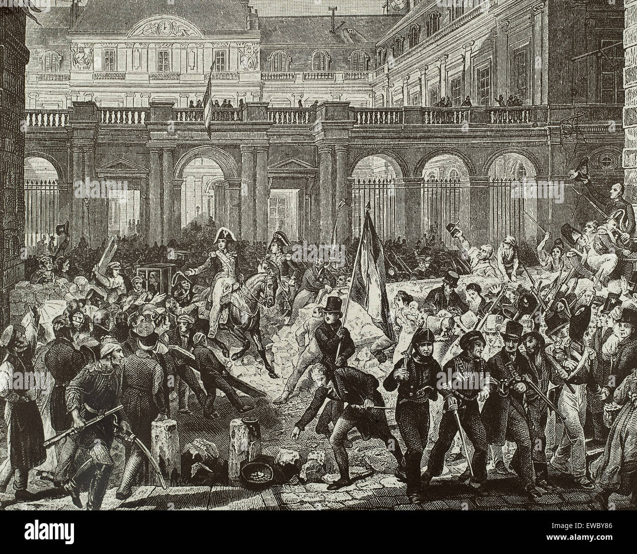 France. Paris. July Revolution.1830. Louis-Philippe,  Duke of Orleans going from the Royal Palace to the town hall, - Stock Image