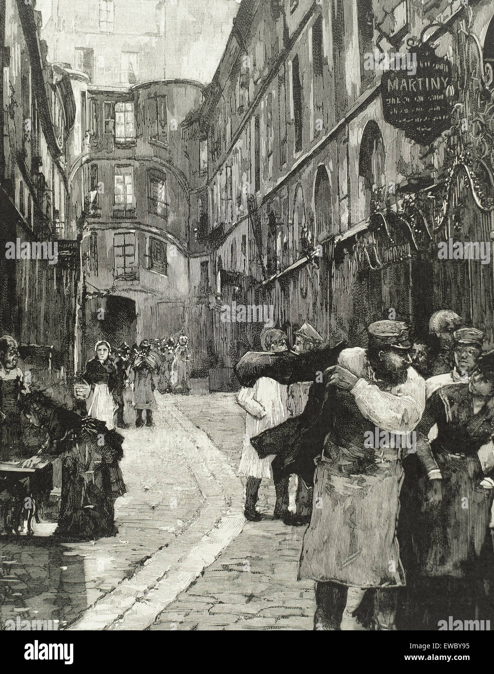 France. Paris. Old town. Dragon street, 1885. Engraving 19th century. - Stock Image