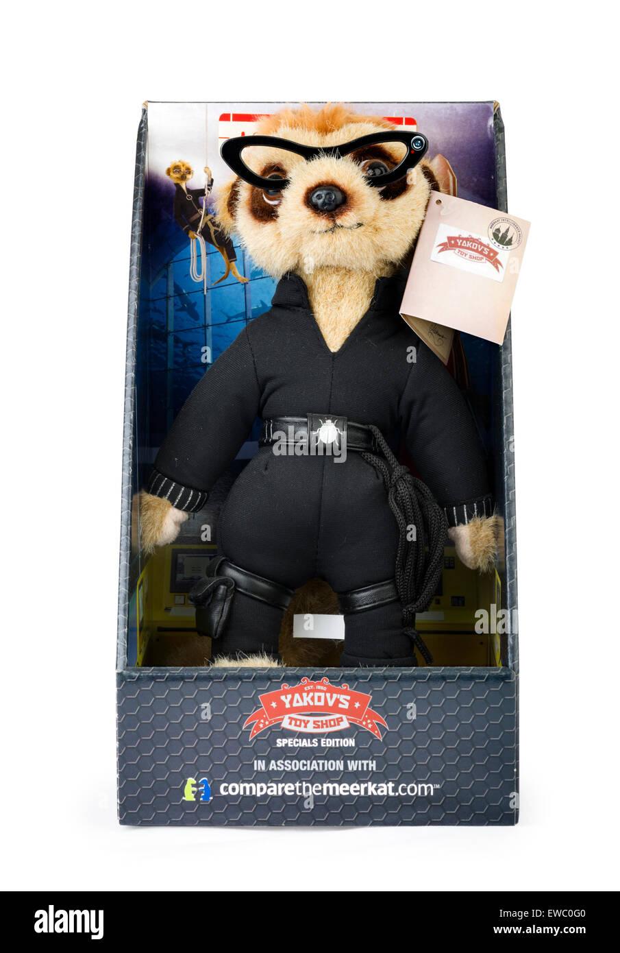 Agent Maiya meerkat toy from Comparethemarket.com price comparison website, UK - Stock Image