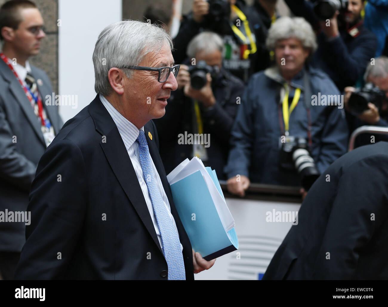 Brussels, Belgium. 22nd June, 2015. European Commission President Jean-Claude Juncker walks out of the European Stock Photo