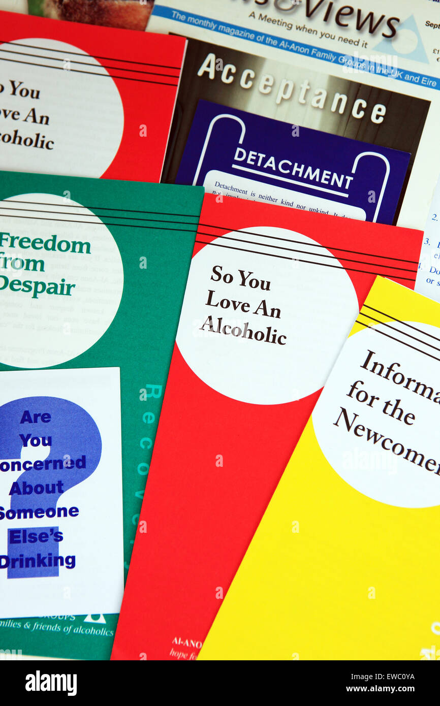 Alcoholics Anonymous leaflets for families and friends of alcoholics from Al-Anon - Stock Image