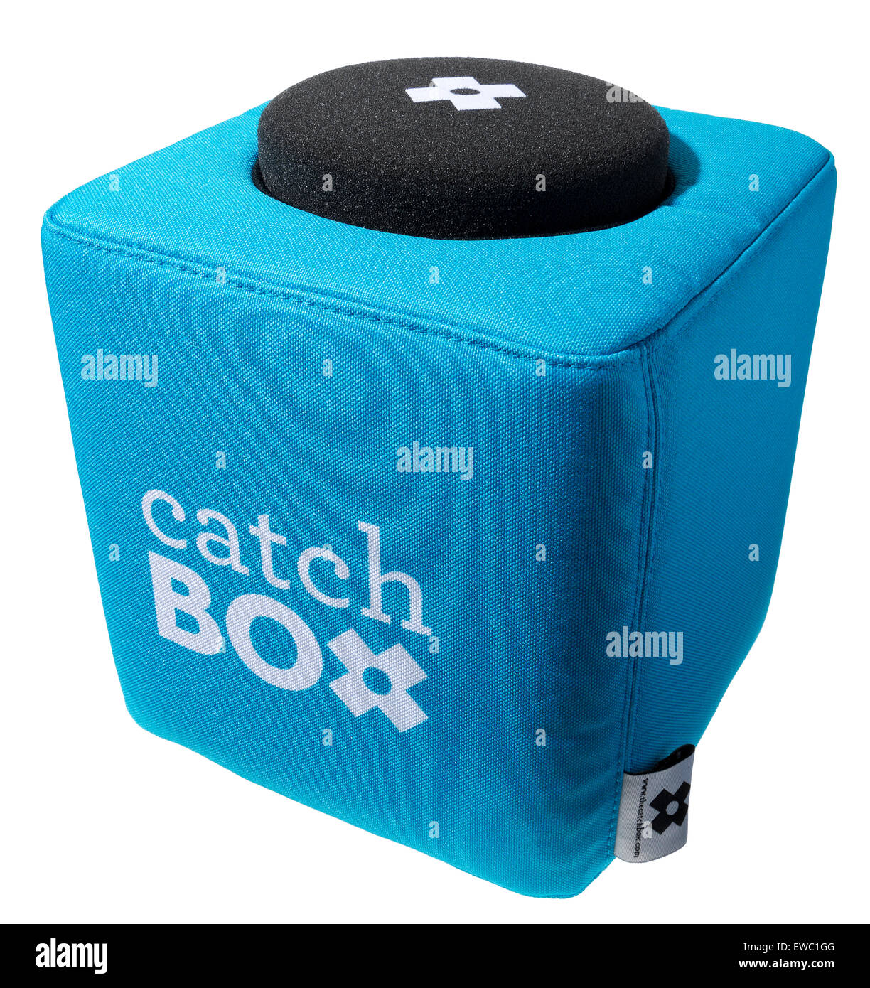 Catch box, throwable microphone. For events where you can engage your audience. Audience participation at presentations. - Stock Image