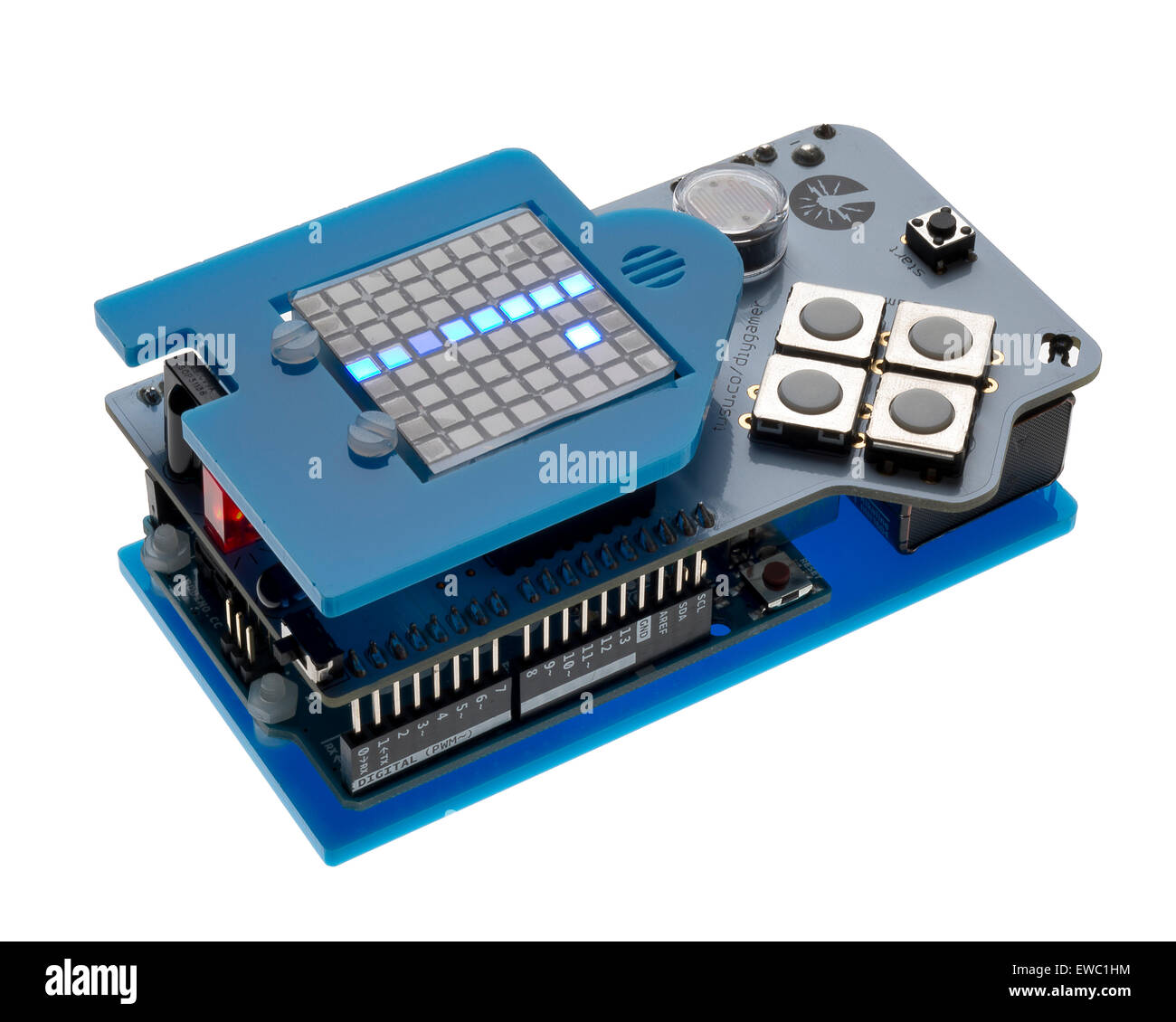 DIY gamer kit. Gadget for designing games and play. Learn to code your own games. - Stock Image