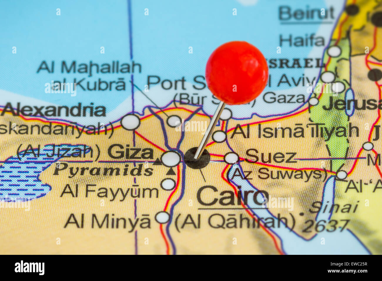 Closeup of a red pushpin on a map of Cairo Egypt Stock Photo