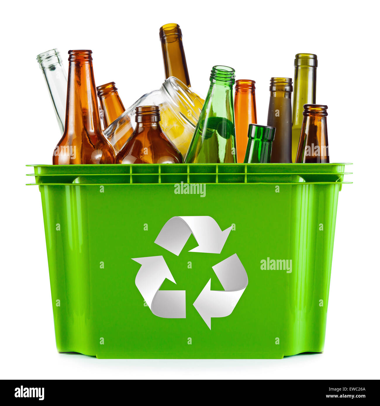 Recycling concept - bin full of glass - Stock Image