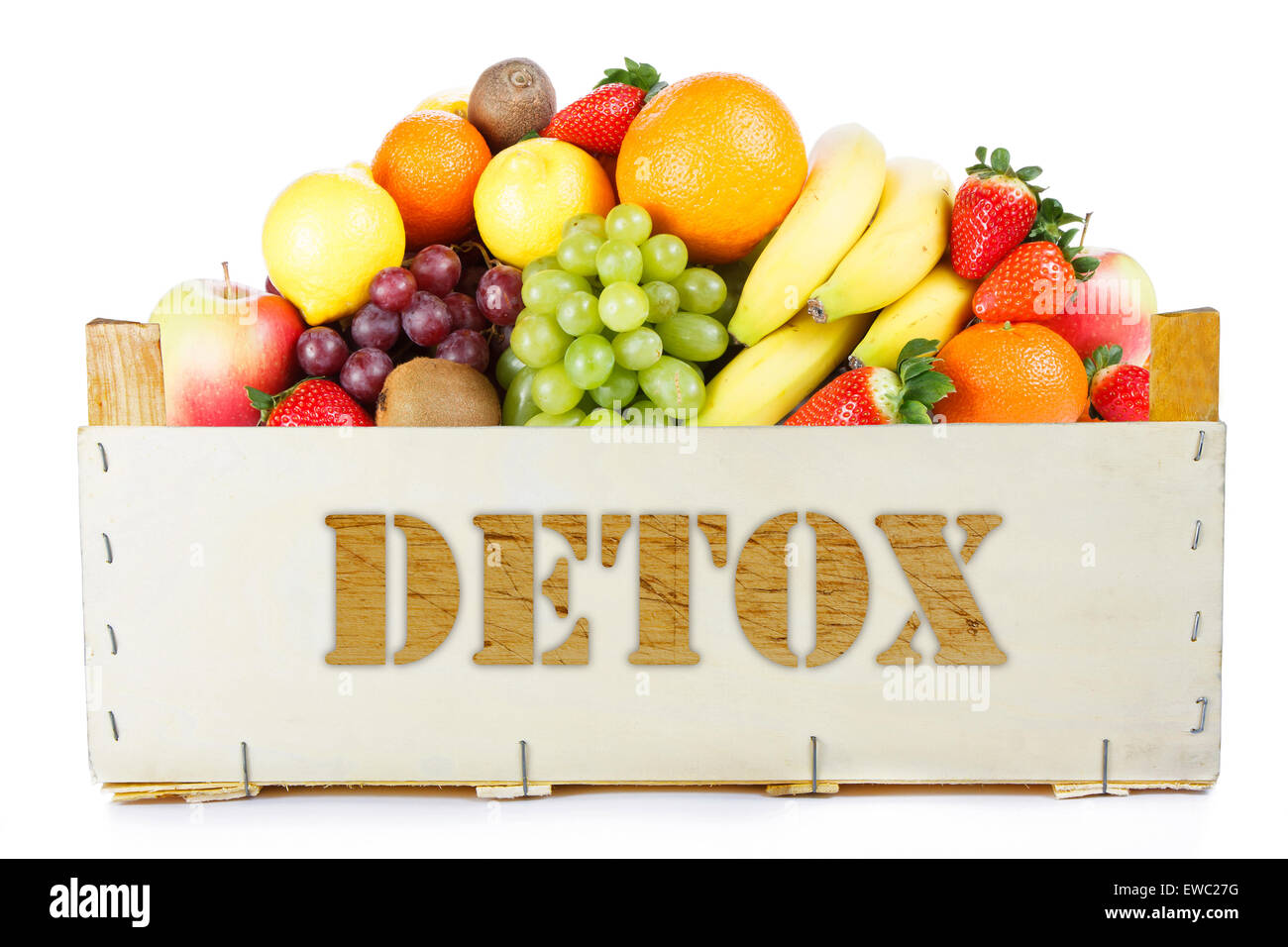 Detox. Fruits in wooden box - Stock Image