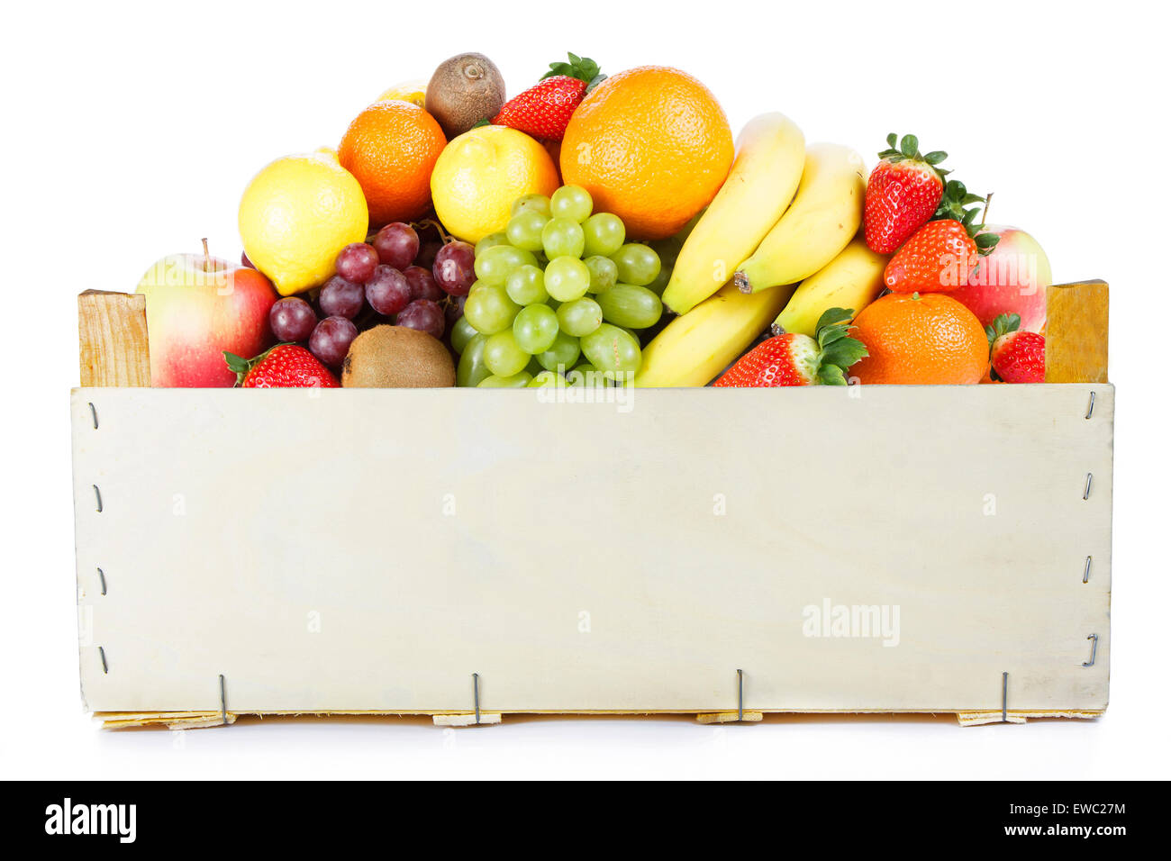 Fruits in wooden box - Stock Image