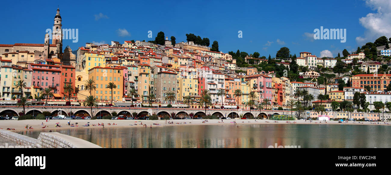 Menton, Cote D'Azure, France. View from the Harbour. - Stock Image