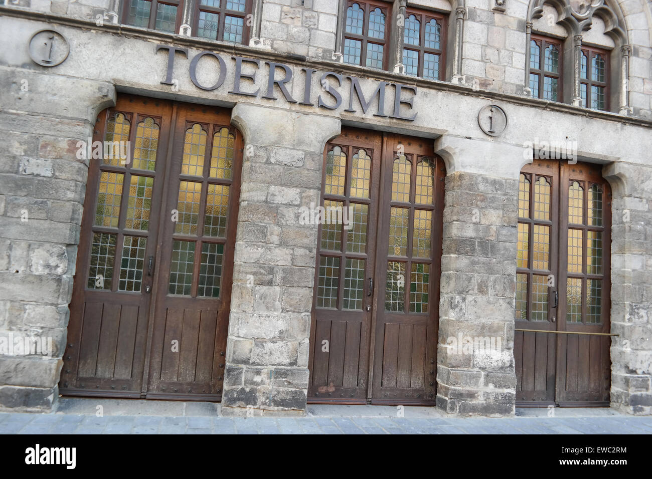 Ypres Tourist Office in the Cloth Hall building - Ypres a Belgian municipality located in West Flanders. - Stock Image