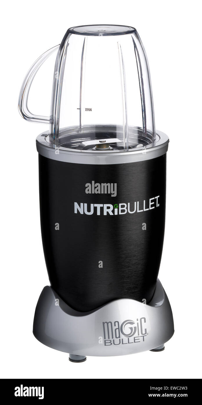 Nutribullet food extractor. Liquidises food to get all the nutrition from your food. Pulverises food to get all - Stock Image
