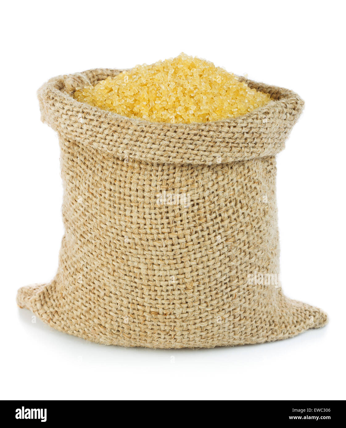 Cane sugar in small burlap sack - Stock Image