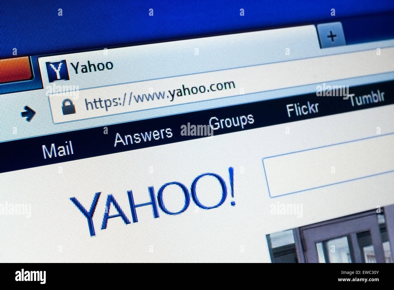 GDANSK, POLAND - APRIL 15, 2015.Yahoo homepage on the computer screen. Yahoo is an American multinational Internet - Stock Image