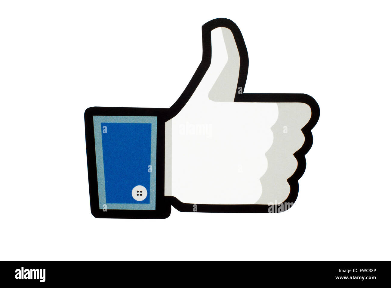 GDANSK, POLAND - MAY 26, 2015. Facebook like logo printed on paper and placed on white background. Facebook is an - Stock Image