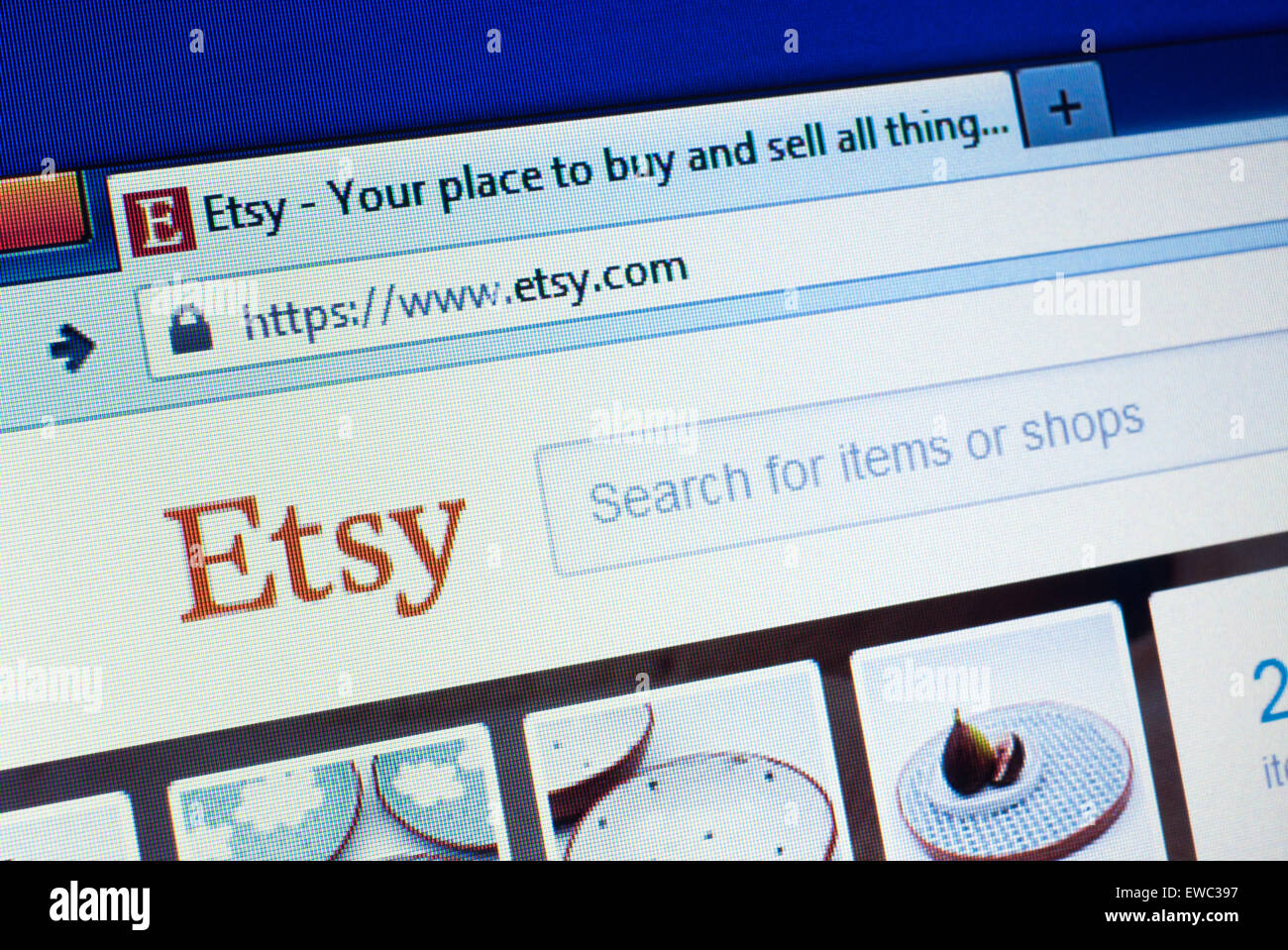 GDANSK, POLAND - APRIL 25, 2015. Etsy homepage on the computer screen. Etsy is a peer-to-peer e-commerce website. - Stock Image