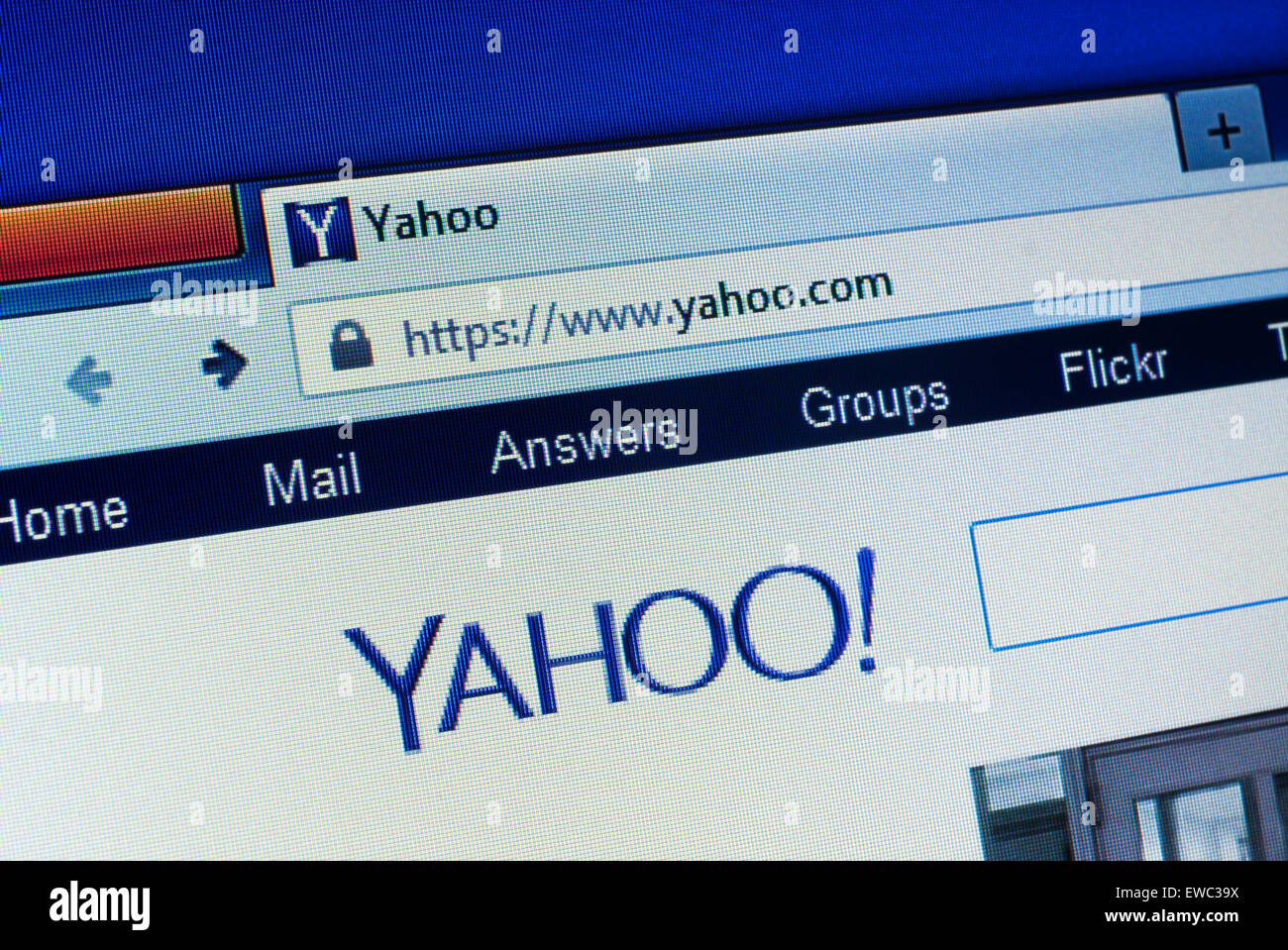 GDANSK, POLAND - APRIL 25, 2015.Yahoo homepage on the computer screen. Yahoo is an American multinational Internet - Stock Image