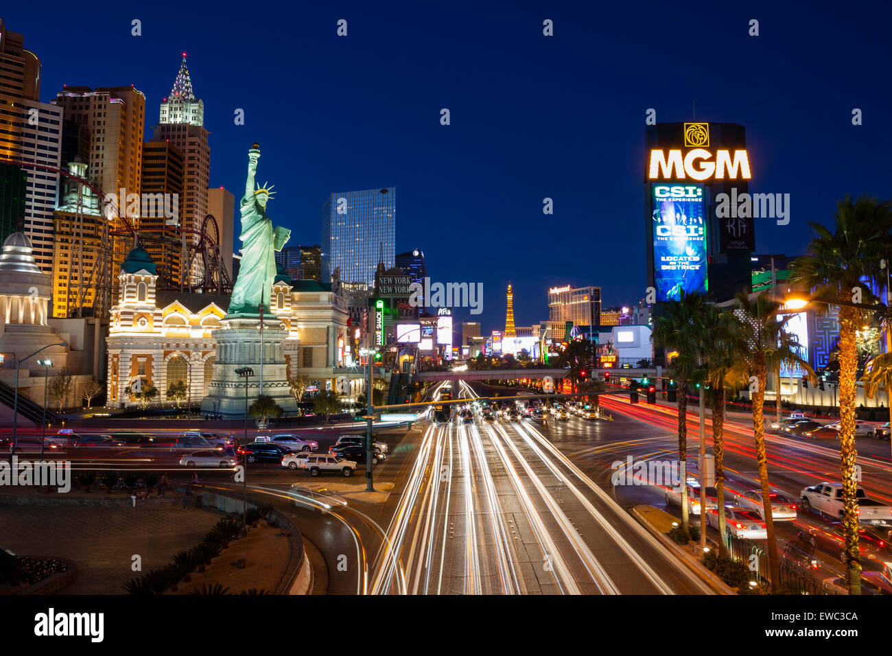 Las Vegas Boulevard 'The Strip' long exposure night shot. View of MGM Grand Hotel and New York New York - Stock Image