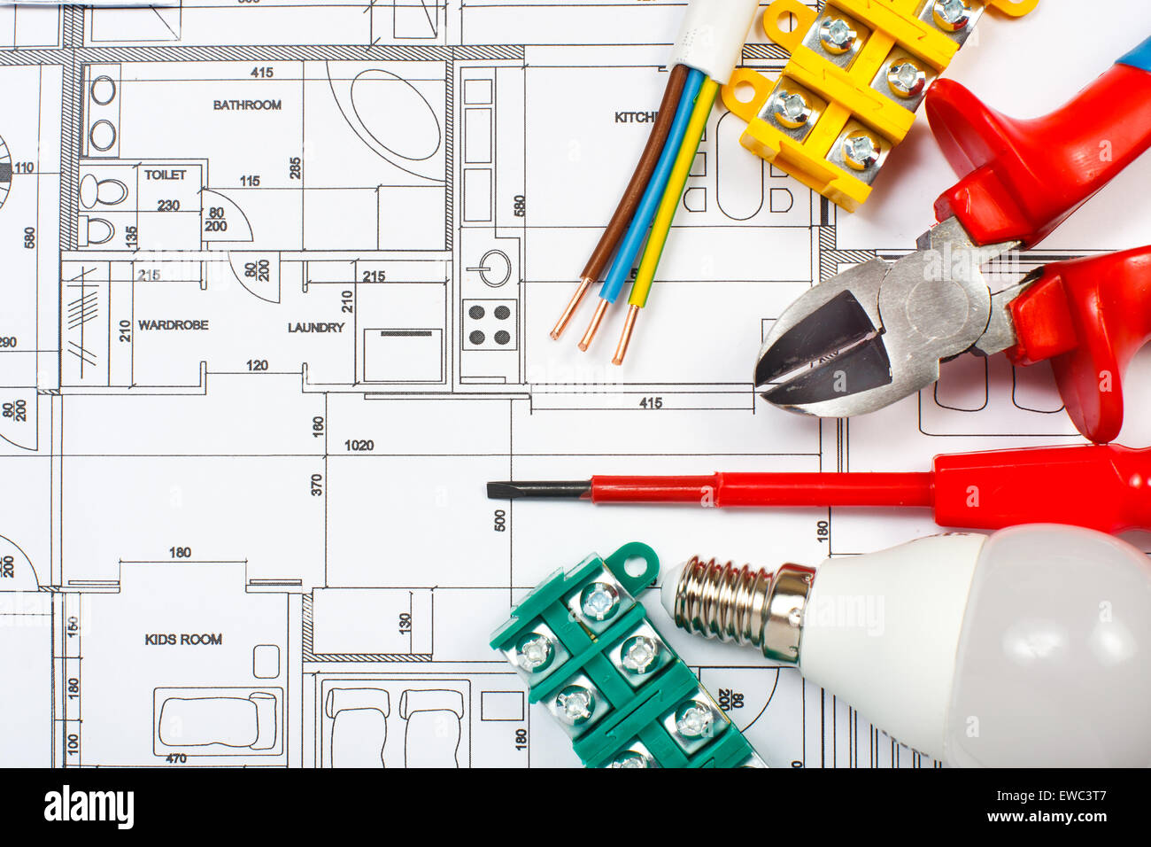 Electrical equipment and tools on house plans - Stock Image