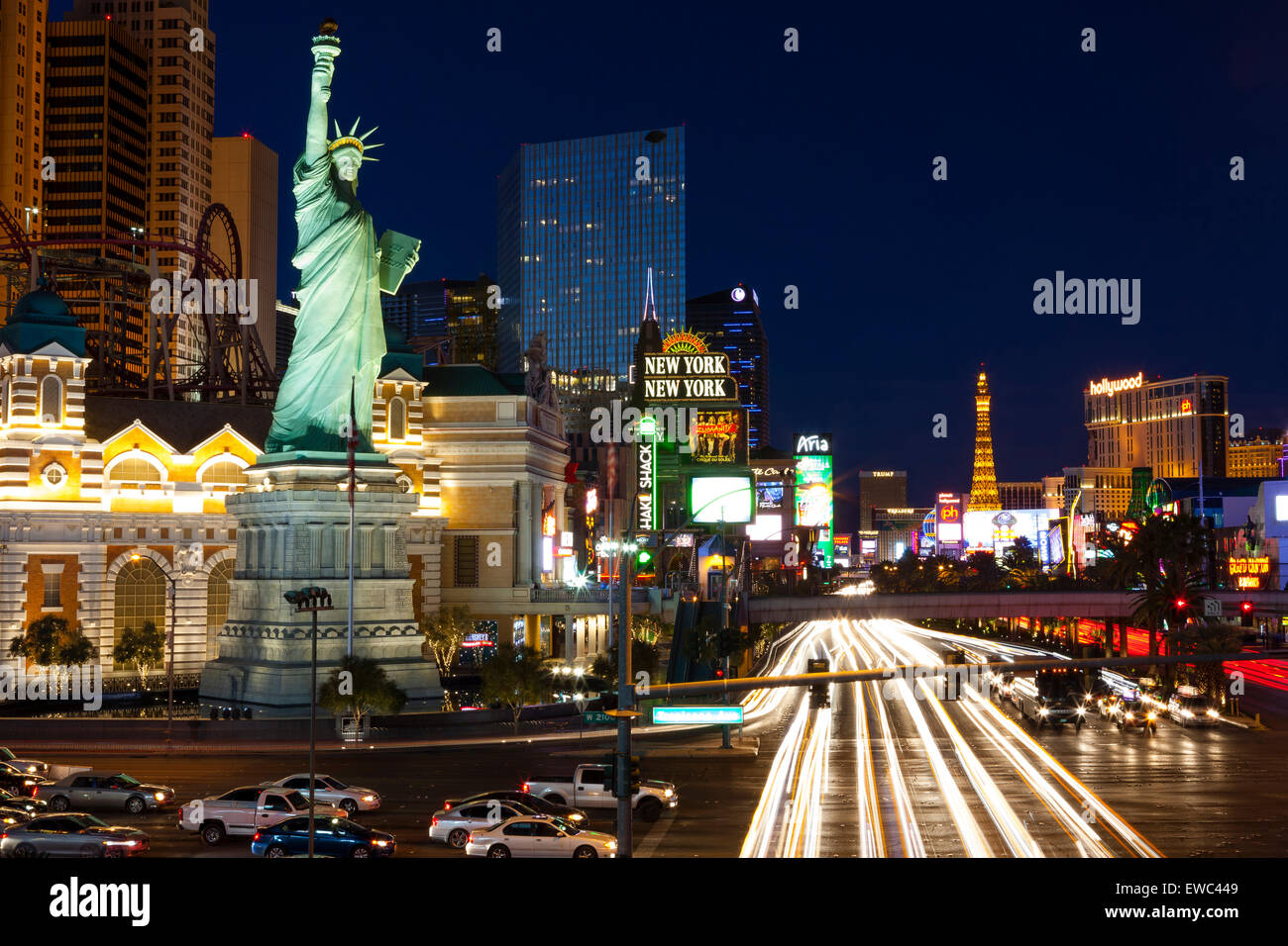 "Las Vegas Boulevard ""The Strip"" long exposure night shot. View of Paris Hotel and New York New York Hotel Stock Photo"