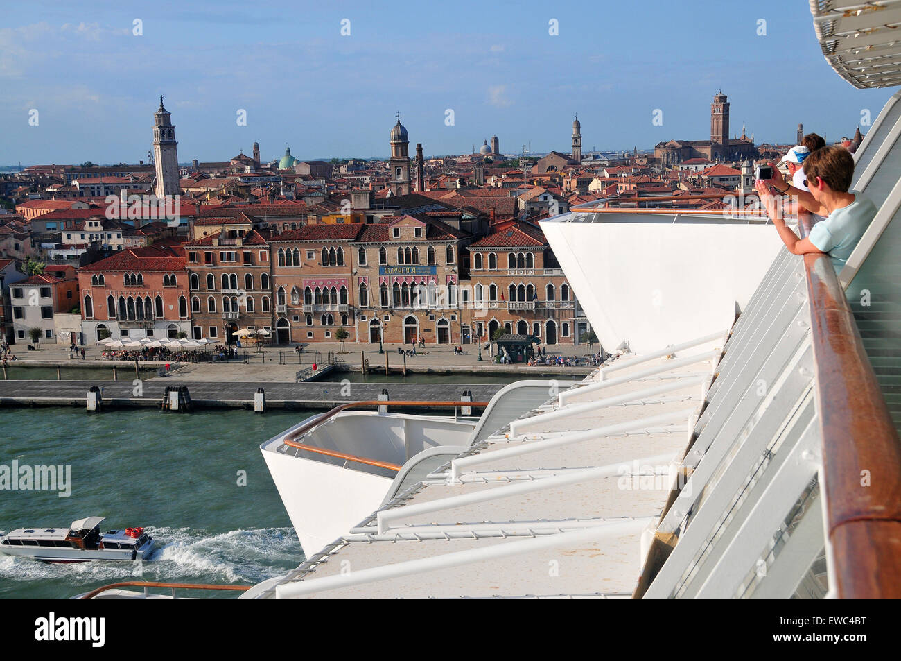 There are many popular sites to see along Venice Italy's cruise ship port/harbor. - Stock Image