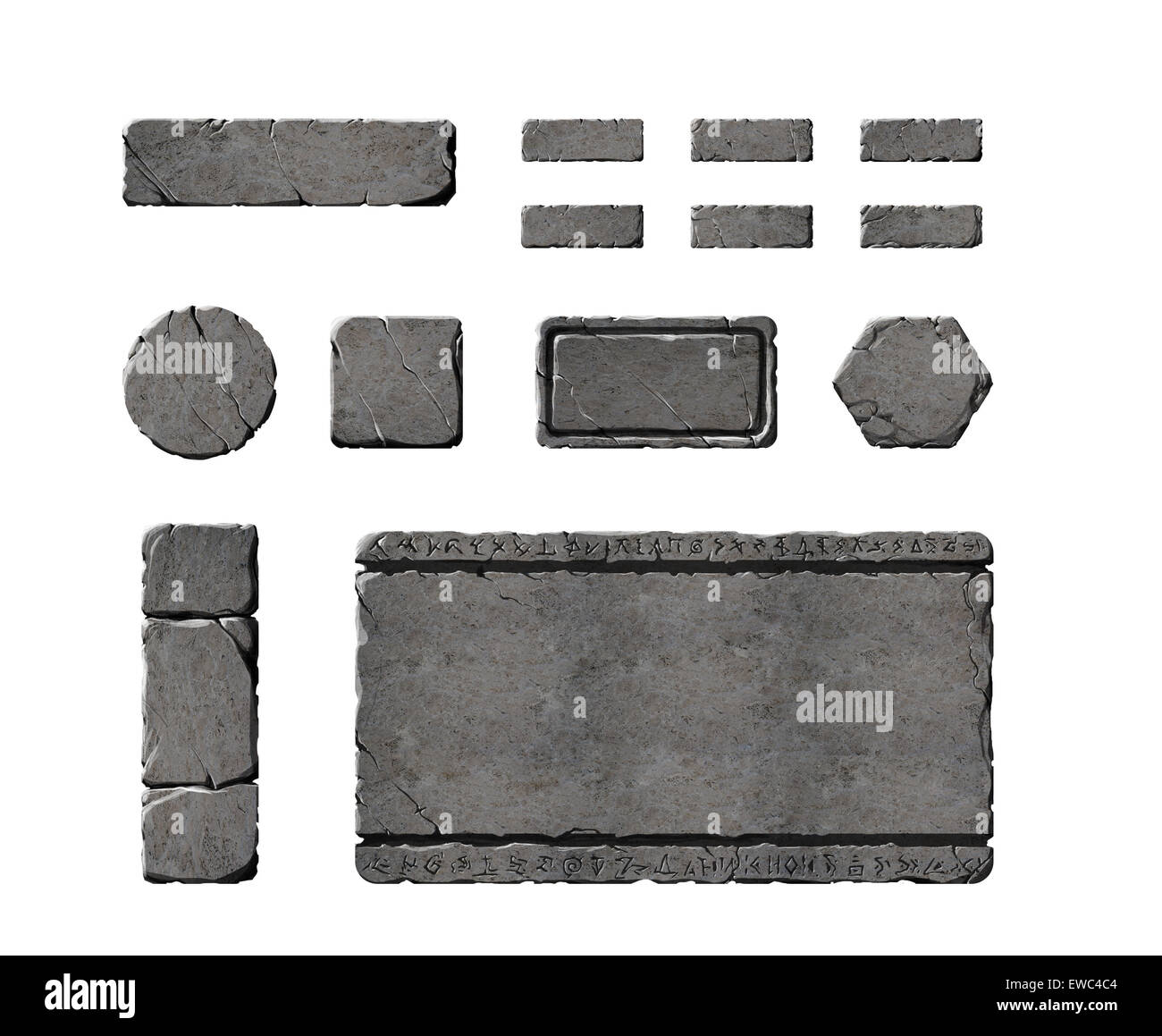 A set of stone buttons and panels - Stock Image