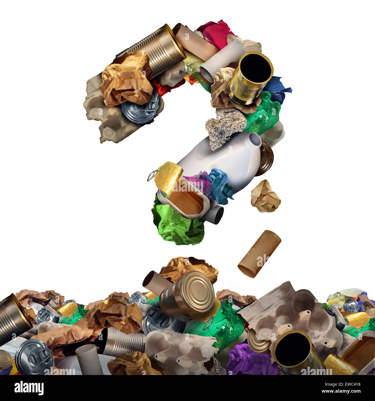 Recycle garbage questions and reusable waste management solutions or confusion concept as old paper glass metal - Stock Image