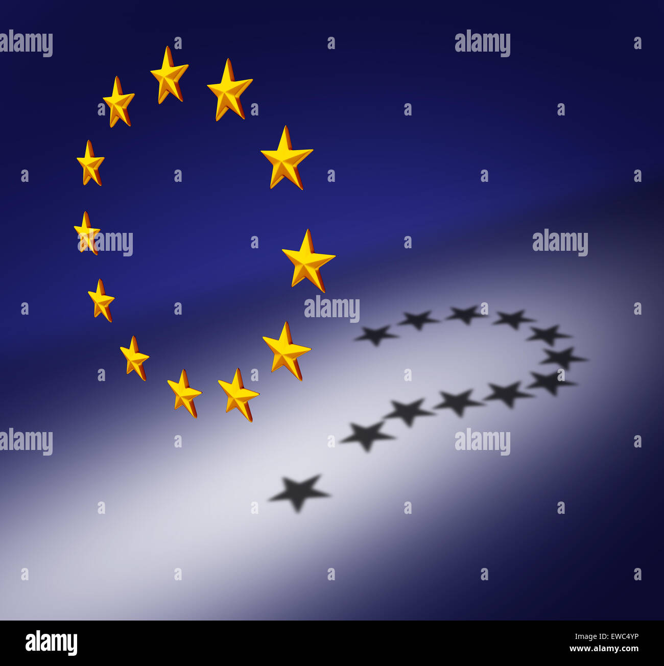 Europe questions or Eurozone crisis concept as a group of three dimensional stars creating a cast shadow of a question - Stock Image