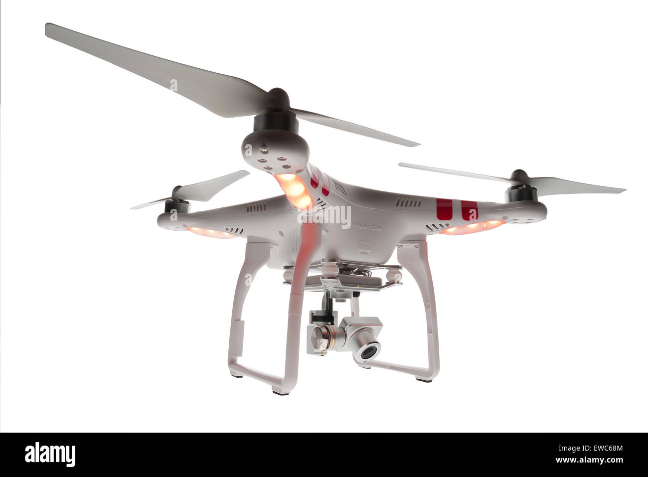 DJI Phantom drone. Aerial video capture. Flying machine. High viewpoint, unmanned aircraft. Remote controlled vertical - Stock Image