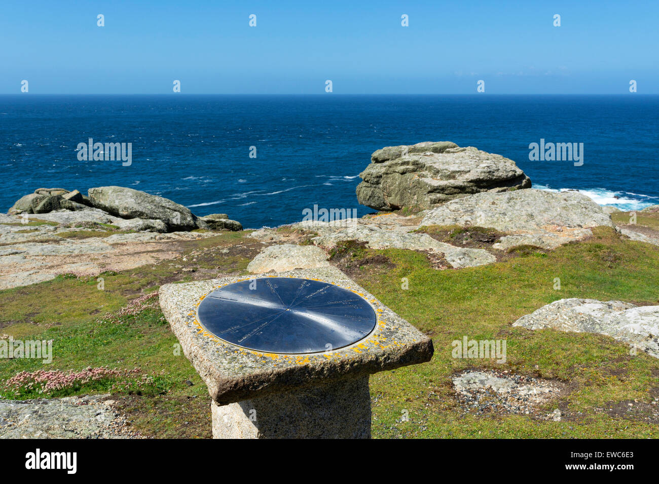 The Trig Point at Gwennap Head near Lands End in Cornwall, England, UK - Stock Image