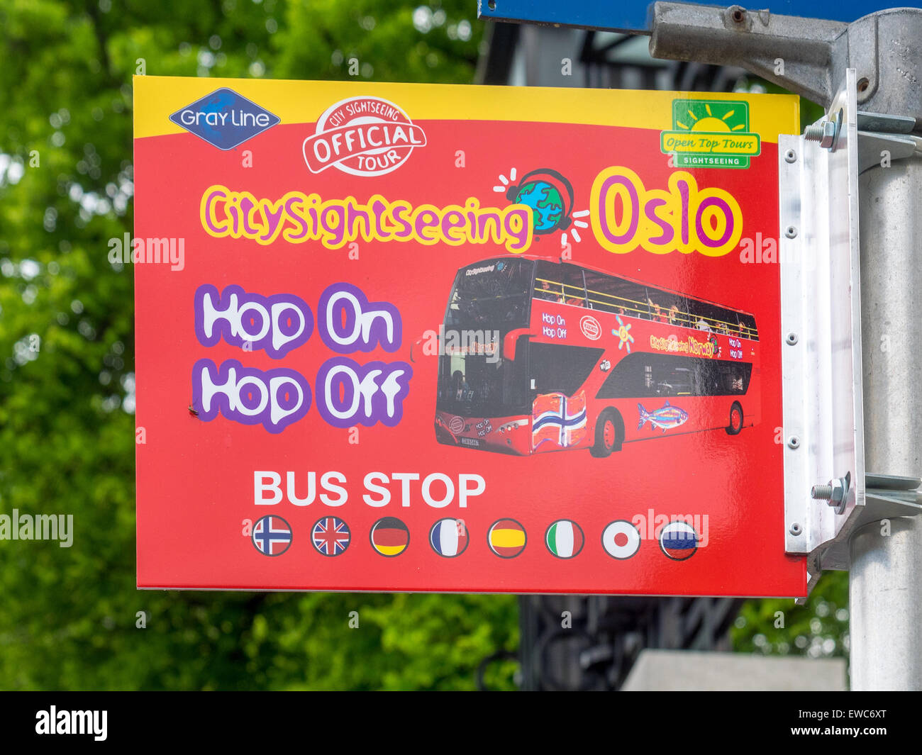 The sign indicating that this is a hop on-hop off stop for the City Sightseeing bus in Oslo. - Stock Image
