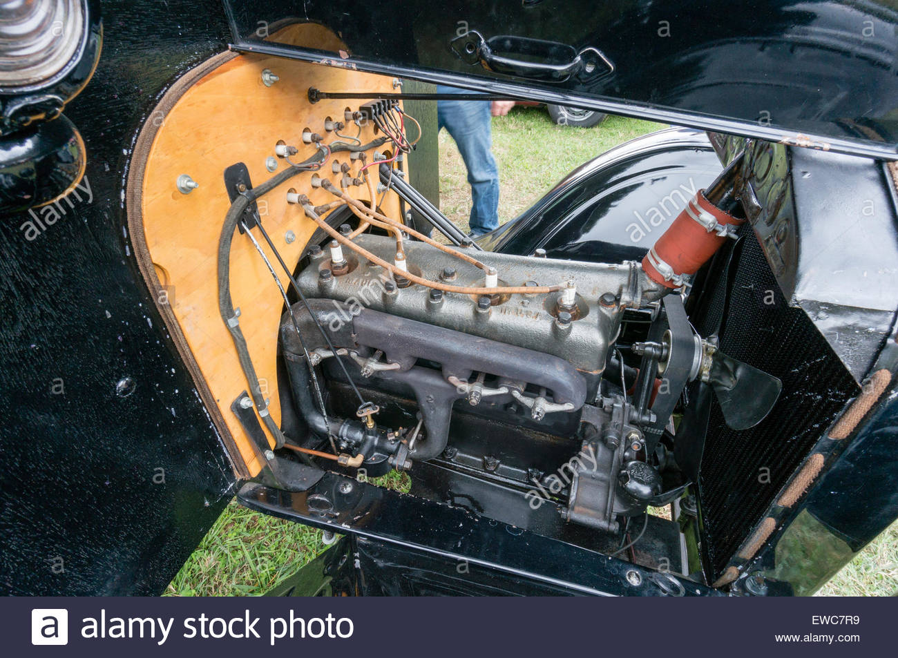 Engine of a 1920\'s Ford Model A automobile at the 2014 Rockville ...