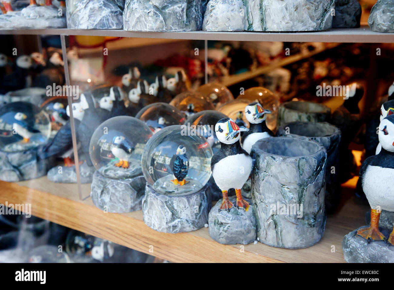 puffin souvenirs gifts and snowglobes Reykjavik iceland - Stock Image