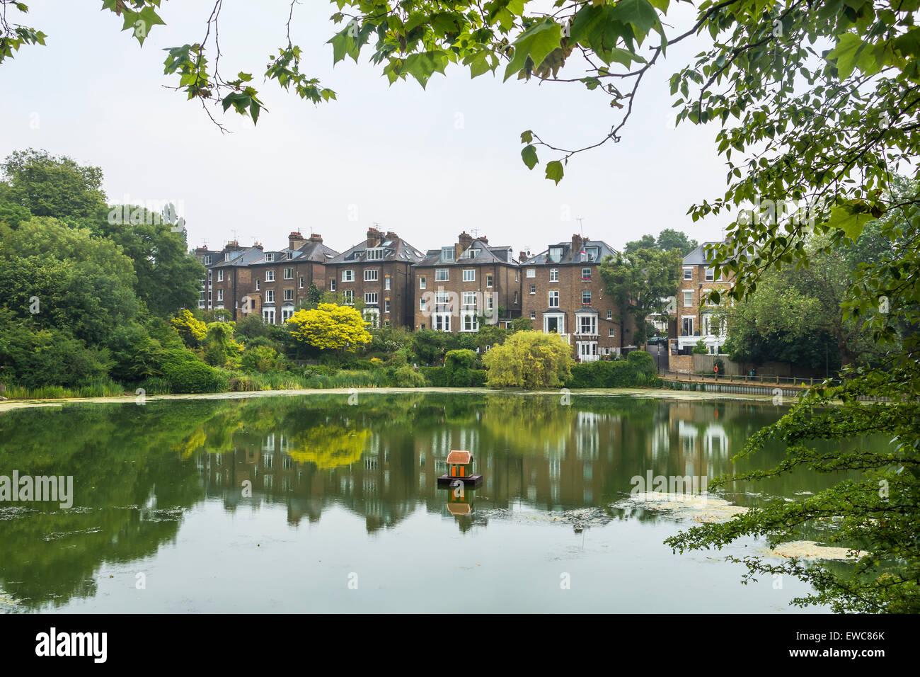 Hampstead Pond Hampstead Heath  London UK - Stock Image