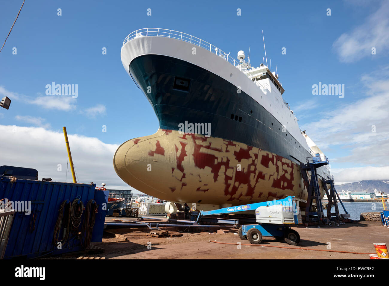 ship repairs in dry dock Reykjavik harbour iceland Stock Photo