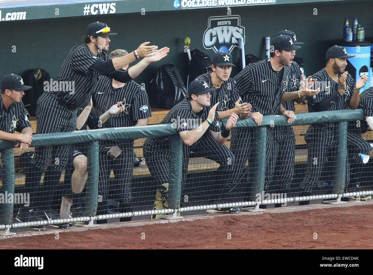 Omaha, Nebraska, USA. 22nd June, 2015. Vanderbilt teammates react to ...