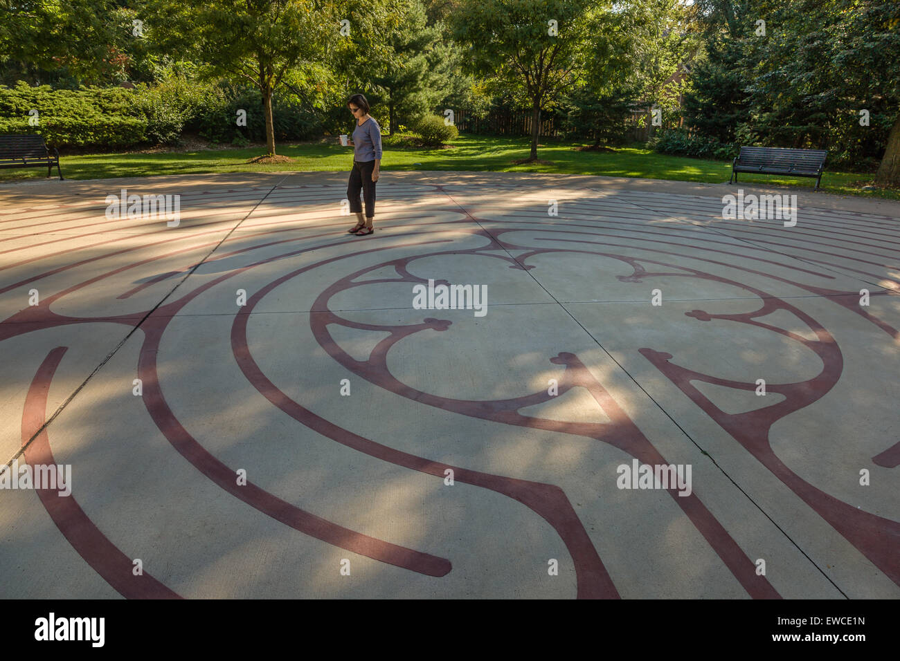 One person walking the Labyrinth in Central Park. - Stock Image